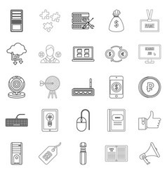 Bank clerk icons set outline style vector