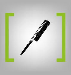 Comb sign black scribble icon in citron vector