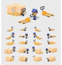 Cube world manual pallet truck vector