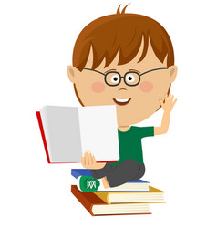 cute nerd little boy shows open textbook vector image vector image