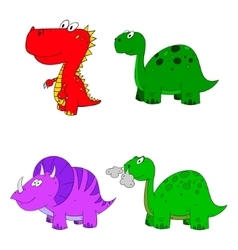 dino set cartoon vector image vector image