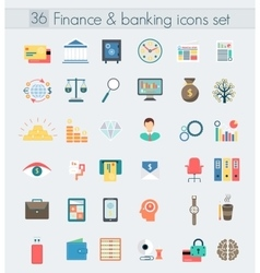Finance banking modern design flat icons set vector image