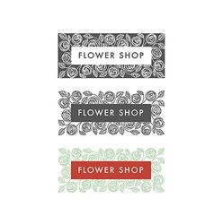 Flower shop florist labels vector image
