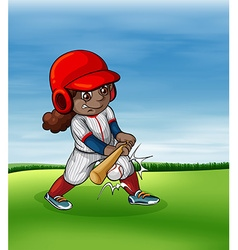 Girl playing baseball outdoor vector