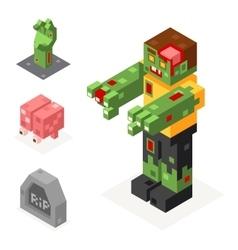 Halloween zombie icons set grave hand brain trick vector
