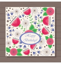 happy birthday card poppy and dandelion on wooden vector image