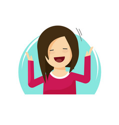 Happy surprised woman flat vector