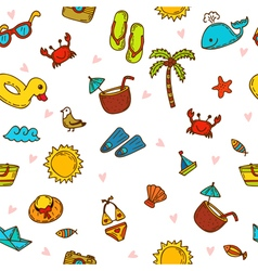 I love summer Seamless summer pattern with hand vector image vector image