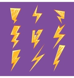 Lightening bolt set vector