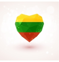 Lithuanian flag in shape diamond glass heart vector