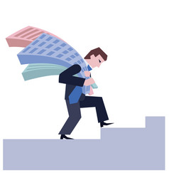 man carrying house business concept the real vector image
