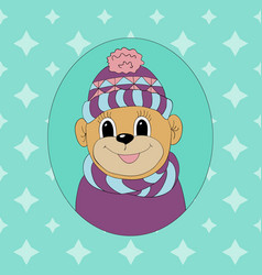 Monkey in a cap and scarf print for clothes cards vector
