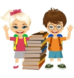 portrait of cute schoolboy and schoolgirlbooks vector image