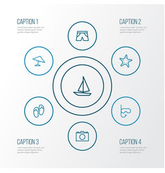 Season outline icons set collection of briefs vector