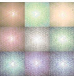 Set of nine hexagonal colorful backgrounds vector image