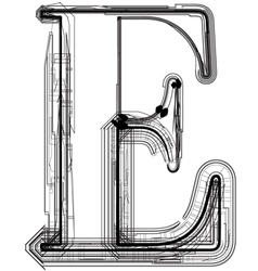 Technical typography Letter E vector image