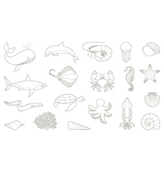 The outlines of fish and other sea creatures vector