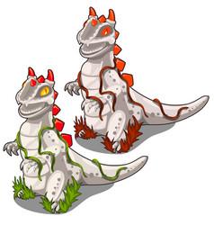 two stone statues of dinosaurs with a red crest vector image