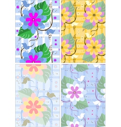Variations seamless background with flowers and bu vector image vector image