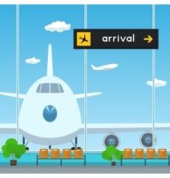 Waiting room in airport scoreboard arrivals vector