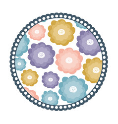 White background with colorful round frame with vector
