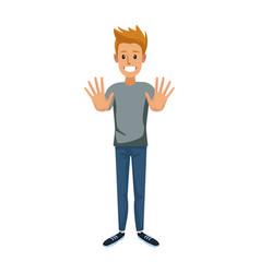 Young guy standing waving hand cheerful cartoon vector