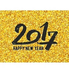 New year 2017 greeting card with gold glittering vector