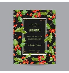 Vintage holy berry christmas card winter vector