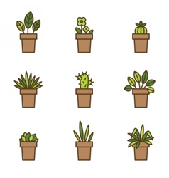 House plants in flowerpots set of flat line icons vector