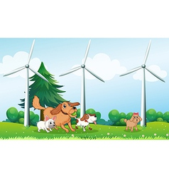 Four dogs playing in front of the windmills vector