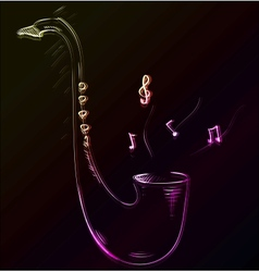 Saxophone glowing sketch vector