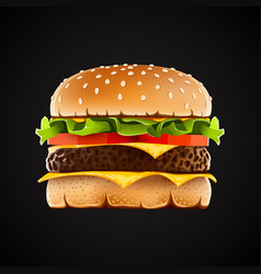 Realistic hamburger with cheese salad and tomato vector