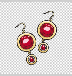 luxurious gold ruby earrings isolated vector image