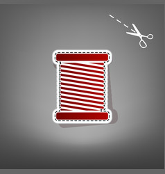thread sign   red icon with vector image