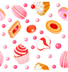 background seamless with fruit biscuits with vector image