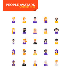 Modern material flat design icons - people avatars vector