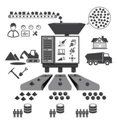 Big data icons set data mining concept vector