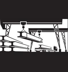 Railroad crane loading concrete panels on truck vector