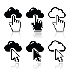 Cloud with cursor hand and arrow icons set vector