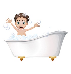 A little boy at the bathtub vector