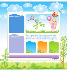 Cartoon kid web template vector