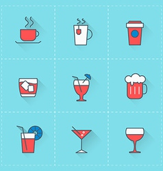 Beverages icons icon set in flat design style for vector