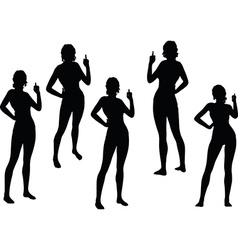 Woman silhouette with hand gesture finger pointing vector