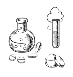 Flask tube pills capsules and powder vector
