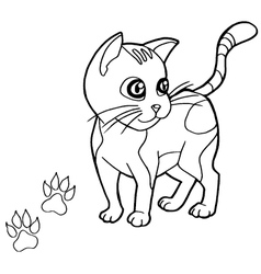 Paw print with cat coloring pages vector