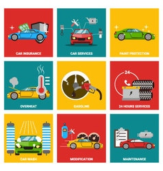 Car flat design icon set vector