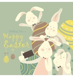 Easter bunnies take a selfie vector