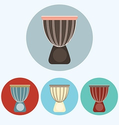 Djembe colorful icon set vector