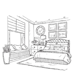 Bedroom modern interior drawing vector
