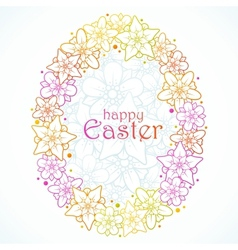 Floral greeting card of easter egg vector